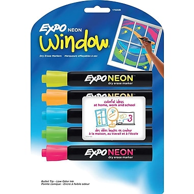 Expo® Neon™ Low Odor Bullet Tip Dry-Erase/Window Markers, Assorted, 5/Pack