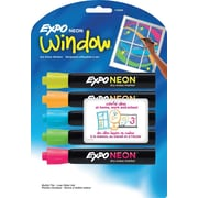 Expo® Neon™ Low Odor Bullet Tip Dry-Erase Markers, Assorted, 5/Pack