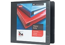 3' Staples® Heavy-Duty View Binder with D-Rings, Black