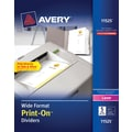 Avery® 11525 Wide Format Print-On™ Divider, White, 5 Tab, 25/Box