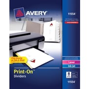 Avery® 11554 Print-On™ Divider, White, 8 Tab, 25/Box