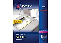 Avery® 11567 Wide Format Print-On™ Divider, White, 8 Tab, 25/Box