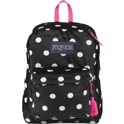 Jansport High Stakes Backpack, Plush Sport Black/White with Pink Trim