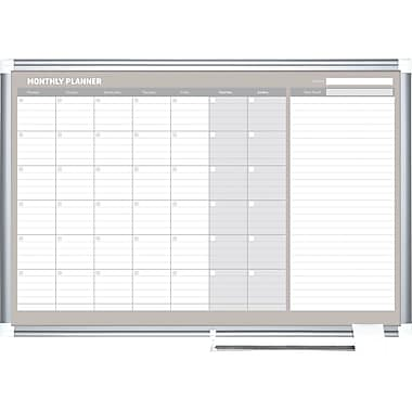 Mastervision  Magnetic  Monthly Planner 24x36, Alum.