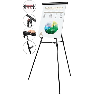 Mastervision 3-Leg Heavy-Duty Telescoping Display Easel, Black
