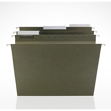 Staples® Hanging File Folders, 3-Tab, Letter, Standard Green, 25/Box (116806)
