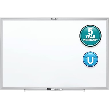Quartet, 4' W x 3' H, Steel Magnetic Whiteboard with Silver Aluminum Frame (SM534)