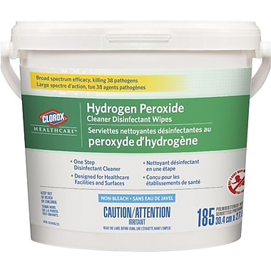 Clorox® Healthcare® Hydrogen Peroxide Disinfecting and Cleaning Wipes Bucket, 185 Sheets/Tub
