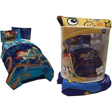 Disney/Jake et les Pirates du pays imaginaire – couvre-lit et couvre-oreiller, conçus pour les lits jumeaux, bleu