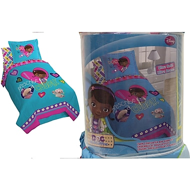 Disney Doc McStuffins Twin Comforter and Sham Set, Made for twin beds, Blue
