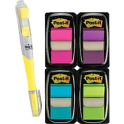 "Post-it® Assorted Bright 1"" Flag Bonus Pack w/ Flag + Highlighter, Each"
