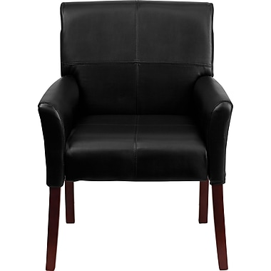 Flash Furniture Leather Executive Side Chair or Reception Chair with Mahogany Legs, Black
