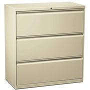 "HON Flagship Lateral File Cabinet, A4/Legal/Letter, 3-Drawer, Putty, 18""D"