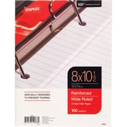 Staples® Reinforced Filler Paper, Wide Ruled, 8 x 10 1/2