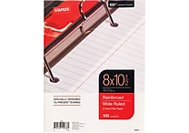 Staples® Reinforced Filler Paper, Wide Ruled, 8' x 10 1/2'