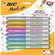 BIC Mark-It™ Fine Point Permanent Metallic Markers, Assorted Colors, 8/Pack