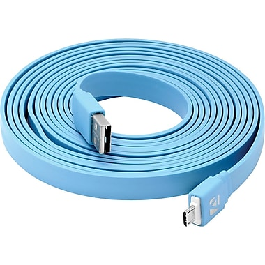 Aduro Flat Cord Sync & Charge Micro USB Cable for SmartPhones & Tablets Blue