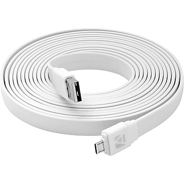 Aduro Flat Cord Sync & Charge Micro USB Cable for SmartPhones & Tablets White