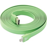 Aduro Flat Cord Sync & Charge Micro USB Cable for SmartPhones & Tablets Green