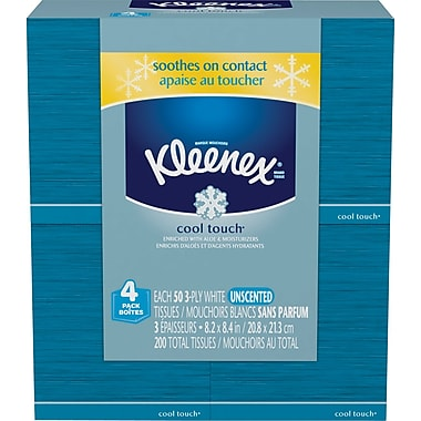 Kleenex Cool Touch Facial Tissues, 2-Ply, White, 4/Pack