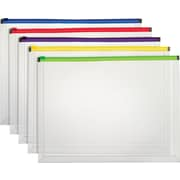 Staples® Poly Zip Envelope, Legal, Assorted 5/PK