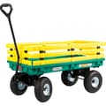 Millside Industries 20in. X 38in. Green Poly Deck Wagon with yellow racks