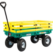 "Millside Industries 20"" X 38"" Green Poly Deck Wagon with yellow racks"