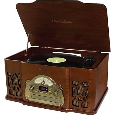 Electrohome Winston 3-in-1 Vintage Classic Turntable Real Wood Stereo System with AM/FM Radio - CD and Full Size Record Player