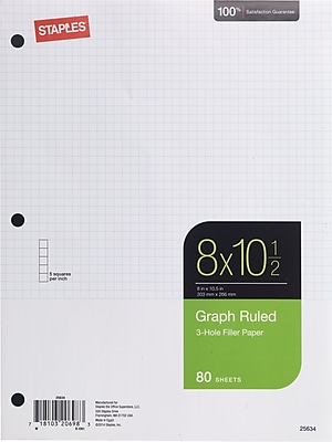 Staples Graph Ruled Filler Paper 5x5 8 x 10 1 2 80 Sheets