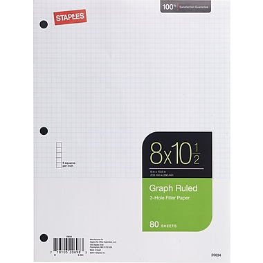 Staples® Graph Ruled Filler Paper, 5x5, 8in. x 10-1/2in., 80 Sheets