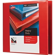 3 Staples® Heavy-Duty View Binders with D-Rings, Red