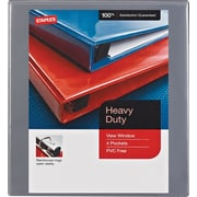 "1/2"" Staples® Heavy-Duty View Binder with D-Rings, Gray"
