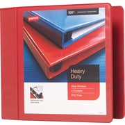 4 Staples® Heavy-Duty View Binder with D-Rings, Red