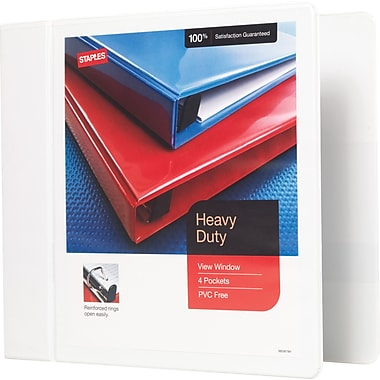 Staples® Heavy-Duty View Binder with D-Rings, 4