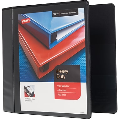 Staples Heavy-Duty 4-Inch Slant D 3-Ring View Binder