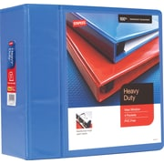 5 Staples® Heavy-Duty View Binders with D-Rings, Periwinkle