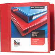 5 Staples® Heavy-Duty View Binder with D-Rings, Red