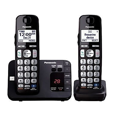 Panasonic KX-TGE232B Telephone System with Answering System, Cordless, Black