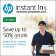 HP Instant Ink 100 Page Plan 1st Month Enrollment Card