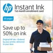 HP Instant Ink 50 Page Plan 1st Month Enrollment Card