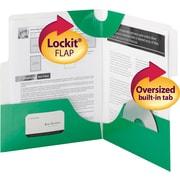 "Smead SuperTab® Two-Pocket Folders, Green, 10""W x 11 1/2""H, 5/Pk"