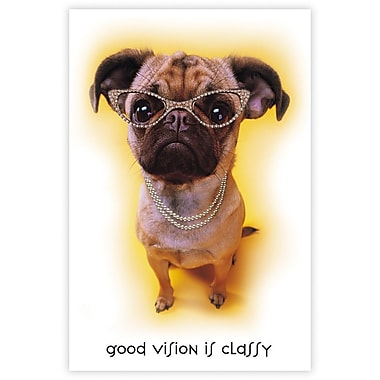 MAP Brand Humorous Laser Postcards Dog with Glasses