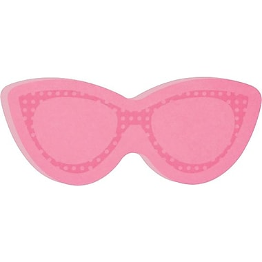 Post-it® Super Sticky Notes, Sunglasses Shape, Cat Eye Design,  3in.x3, Pink