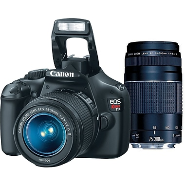 Canon EOS Rebel T3 DSLR 2 Lens Bundle, Black