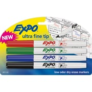 Expo Low Odor Dry-Erase Markers, Ultra Fine Point, Assorted, 4/Pack
