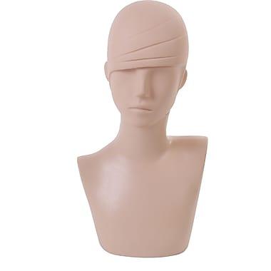 Mannequin Bust, Molded Hair, Plastic, Light Skin Color