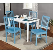 "TMS Camden 29"" x 45"" x 28""5 Piece Dining Set, White/Blue"