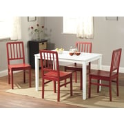 "TMS Camden 29"" x 45"" x 28"" 5 Piece Dining Set, White/Red"