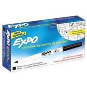Expo Low Odor Dry-Erase Markers, Ultra Fine Point, Black, Dozen