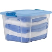 BELLA 40 QT Container, Clear with Blue Lid